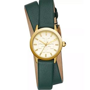 Tory Burch Gigi green wrap double strap watch
